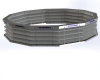 Автоматическая противопожарная штора «Гармошка» круглая замкнутая форма в раскрытом состоянии